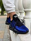 Yohji Yamamoto Kaiwa Женские осенние синие кожаные кроссовки. Женские кроссовки на шнурках, фото 5