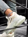 Balenciaga Triple S  Женские осенние белые кожаные кроссовки. Женские кроссовки на шнурках, фото 4