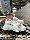 Balenciaga Triple S  Женские осенние белые кожаные кроссовки. Женские кроссовки на шнурках, фото 6