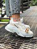 Balenciaga Triple S  Женские осенние белые кожаные кроссовки. Женские кроссовки на шнурках, фото 7