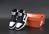 Jordan 1 Retro Женские осенние черно-белые кожаные кроссовки. Женские кроссовки на шнурках, фото 6