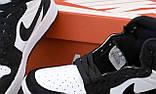 Jordan 1 Retro Женские осенние черно-белые кожаные кроссовки. Женские кроссовки на шнурках, фото 7