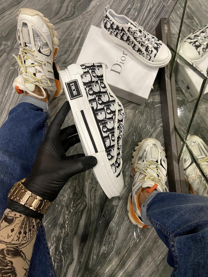 Dior B23 Low-Top Женские осенние белые текстильные кроссовки. Женские кроссовки на шнурках