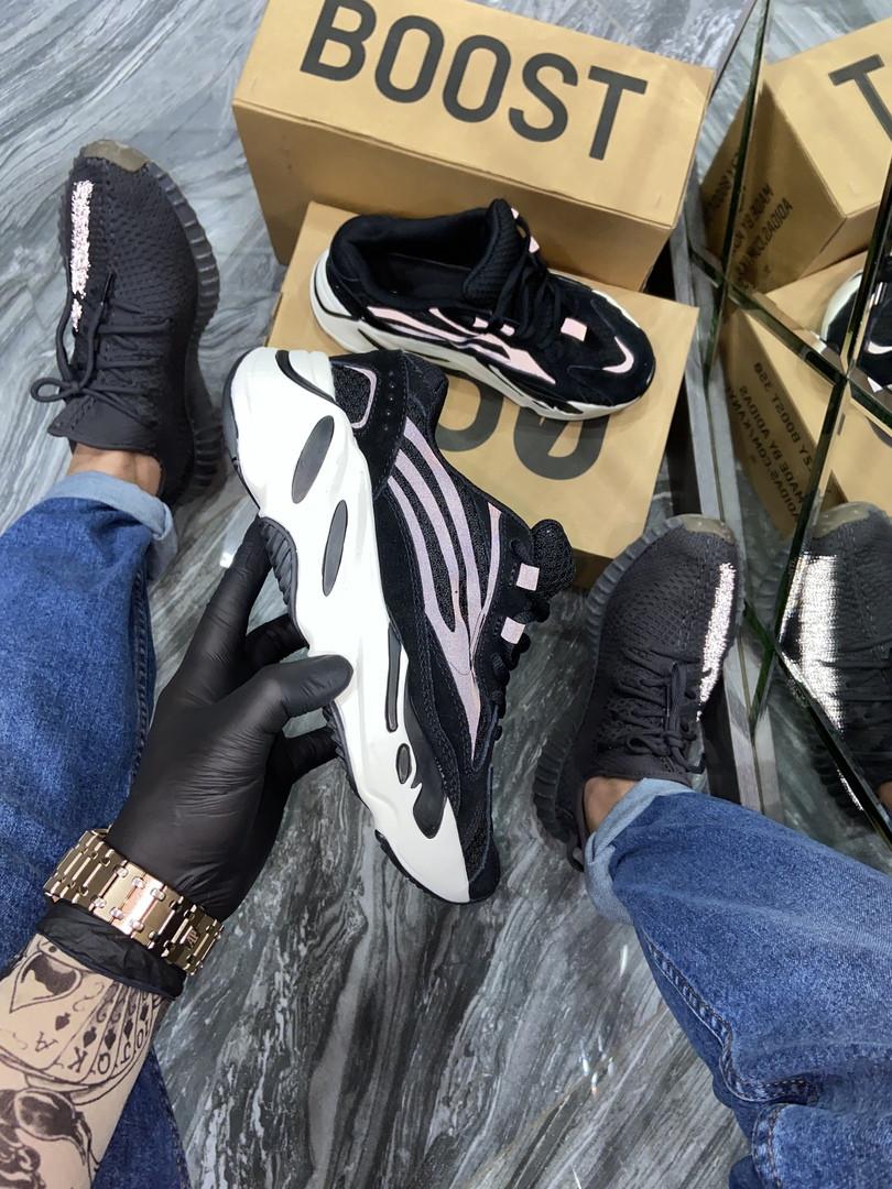Adidas Yeezy 700 V2 Beige Женские осенние черные текстильные кроссовки. Женские кроссовки на шнурках