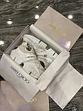 Jimmy Choo Женские осенние белые кожаные кроссовки. Женские кроссовки на шнурках, фото 6