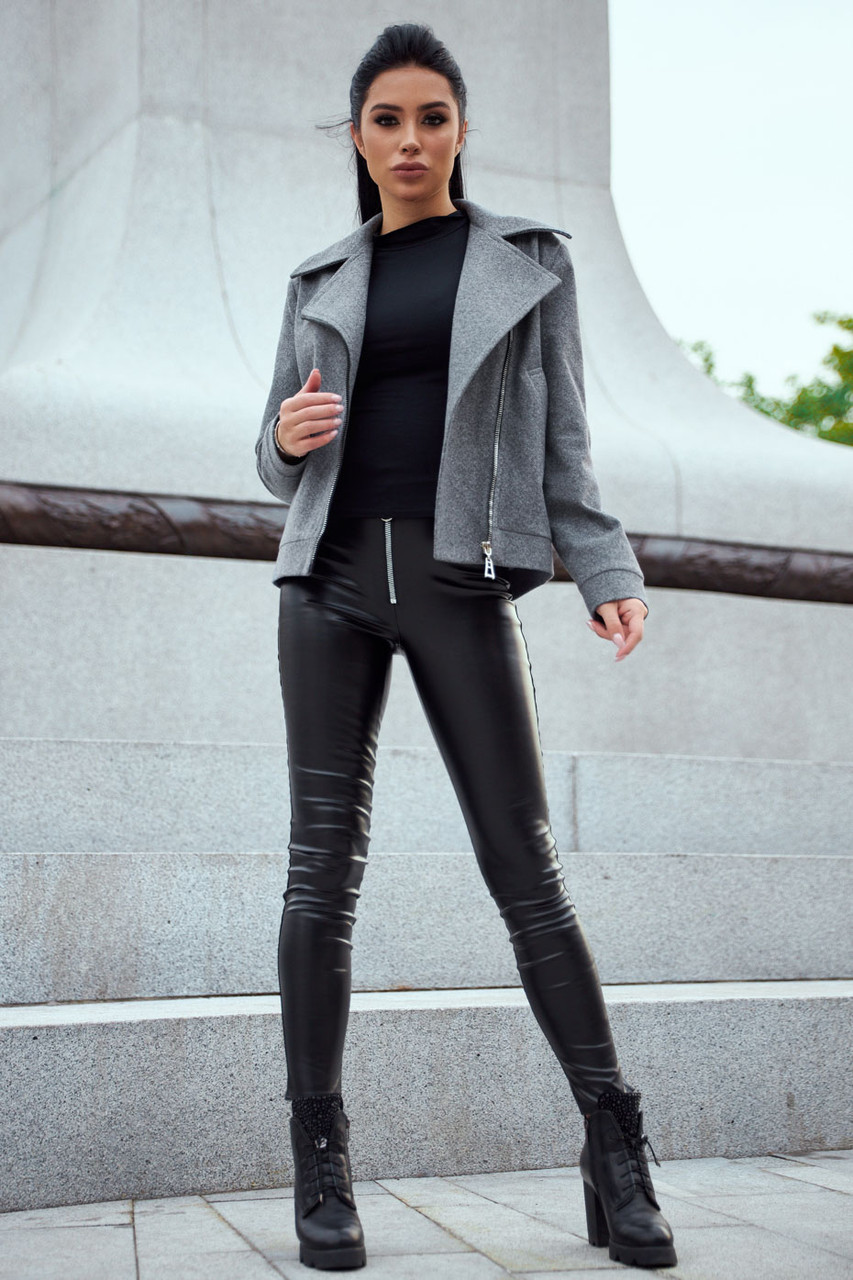 Короткое пальто женское демисезонное кашемировое серое