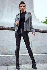 Женское короткое пальто демисезонное кашемировое серое