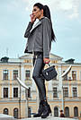 Короткое пальто женское демисезонное кашемировое серое, фото 5