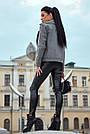 Короткое пальто женское демисезонное кашемировое серое, фото 7