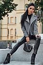 Короткое пальто женское демисезонное кашемировое серое, фото 2