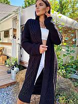 Теплый женский кардиган машинная вязка с узором, фото 2