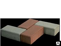 """Тротуарная плитка """"Кирпич"""" 100*200*40 (серый, сухопрессованная"""