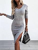 Женское облегающее платье из ангоры с боковым разрезом, фото 1