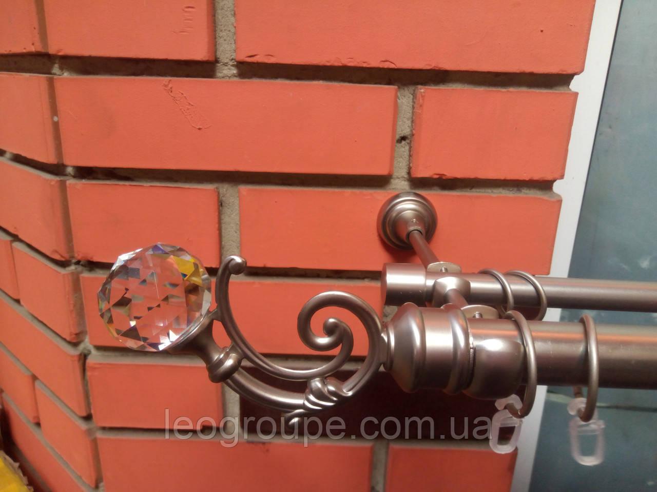 Карниз кованый двойной  25+16  Бордо с Кристаллом  сатин-1,6м