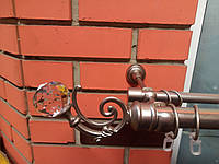 Карниз кованый двойной  25+16  Бордо с Кристаллом  сатин-1,6м, фото 1