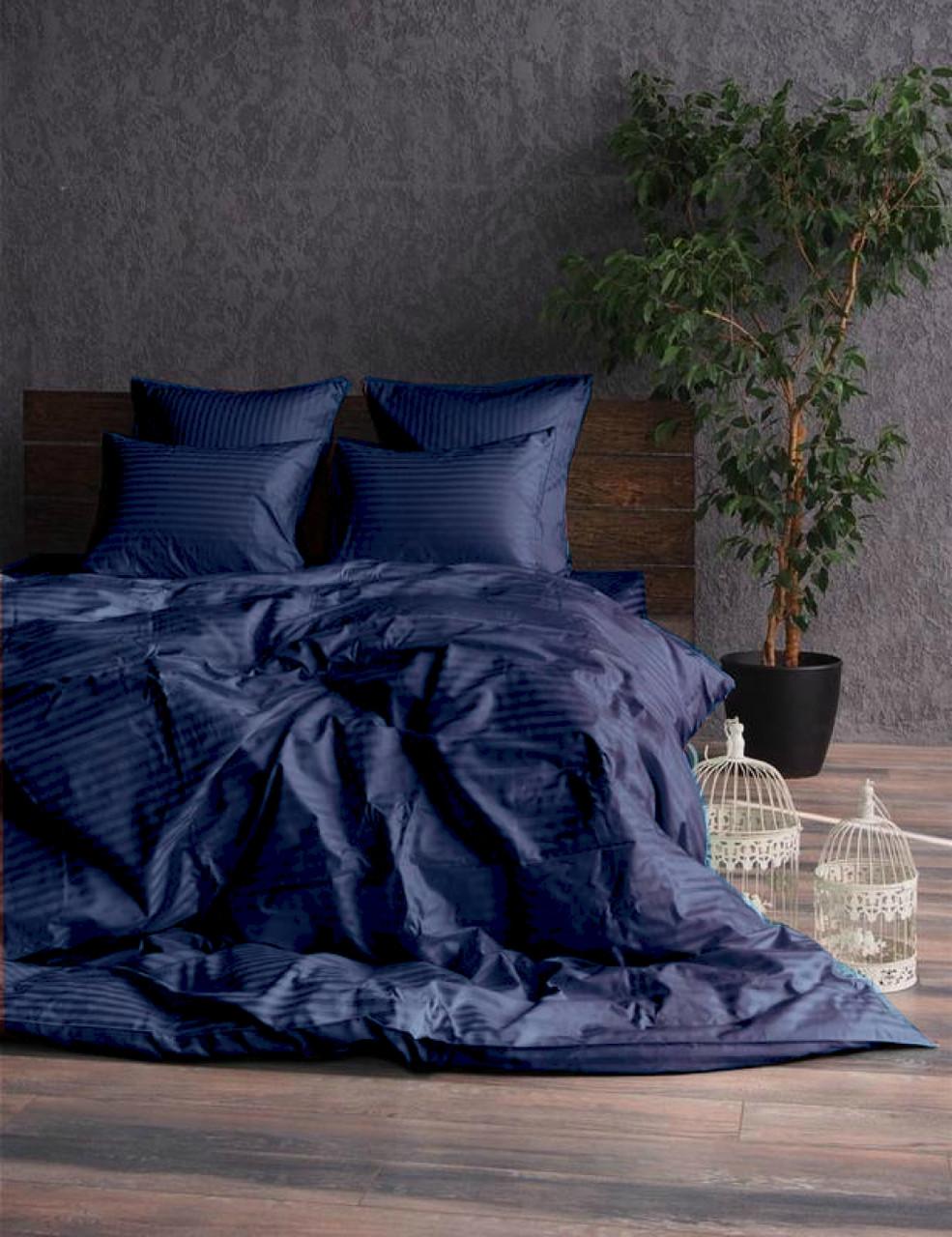 Постельное белье Сатин-страйп 1*1 Dark Blue