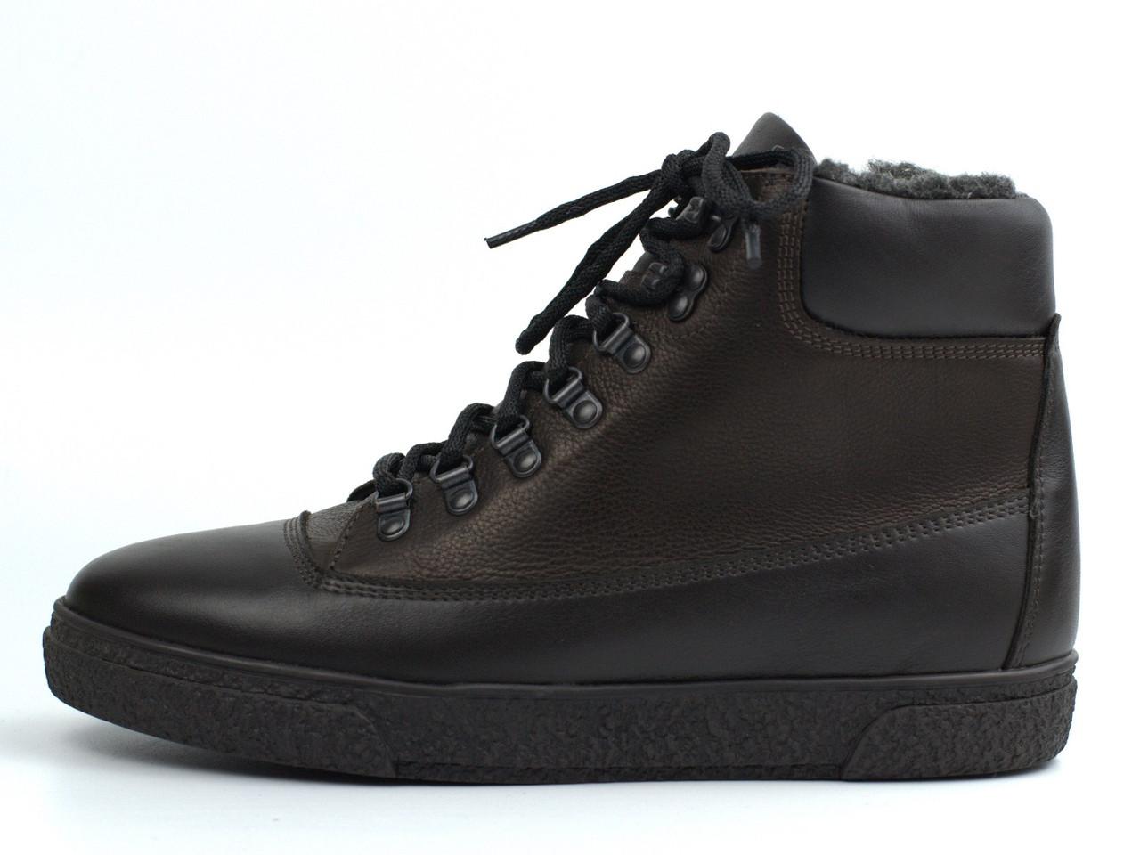 Мужские полуботинки на флисе кожаные коричневые обувь больших размеров Rosso Avangard Taiga North Lion BS
