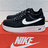 Nike Air AF-1  Женские осенние черные кожаные кроссовки. Женские кроссовки на шнурках, фото 3