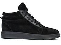 Замшевые мужские полуботинки на флисе кроссовки обувь большого размера Rosso Avangard Original Black Vel BS, фото 1