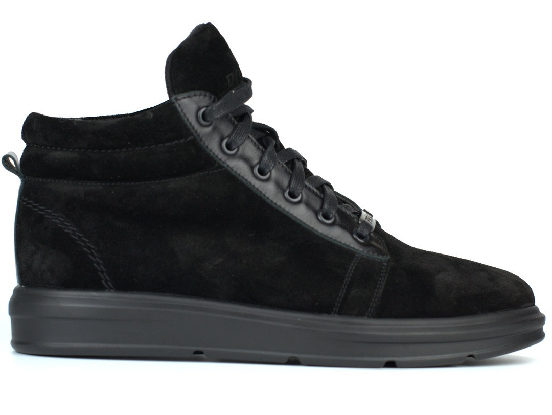 Замшевые мужские полуботинки на флисе кроссовки обувь большого размера Rosso Avangard Original Black Vel BS
