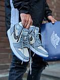 Air Jordan Dior Женские осенние серые кожаные кроссовки. Женские кроссовки на шнурках, фото 2