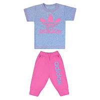 Детский летний комплект серый для девочки с принтом Adidas кулир