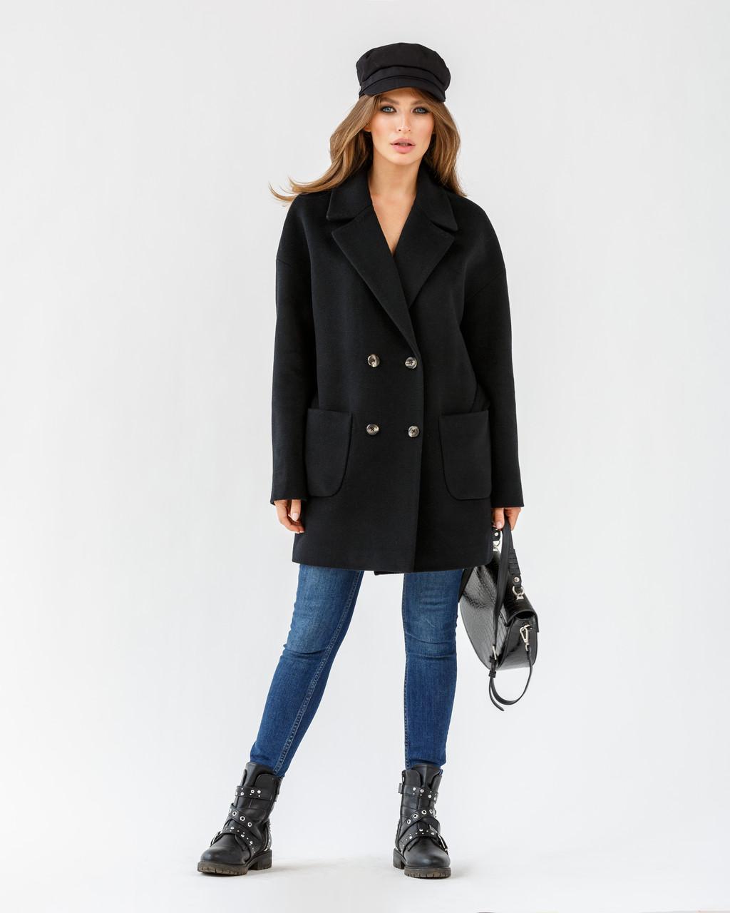 """Модне жіноче коротке пальто з відкладним коміром """"ялинка"""" 40,42,44 розмір"""