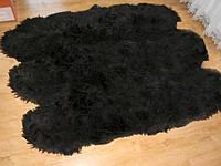 Ковер из черной Исландской овчины, из 6-ти шкур