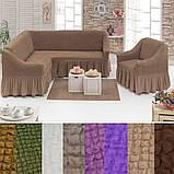 Еврочехол на угловой диван и кресло натяжные чехлы с оборкой Бежевый жатка Много цветов, фото 3