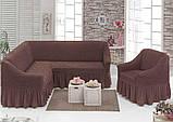 Еврочехол на угловой диван и кресло натяжные чехлы с оборкой Бежевый жатка Много цветов, фото 7