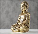 Фигурка Будда из полистоуна золото h30см, фото 5