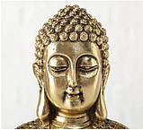 Фигурка Будда из полистоуна золото h30см, фото 4