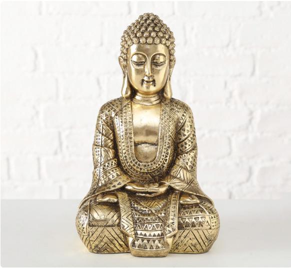 Фигурка Будда из полистоуна золото h30см