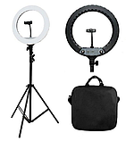 Профессиональная LED светодиодная кольцевая лампа 45 см HQ-18 со штативом (0,7-2м) ЛЕД кольцо для селфи, фото 2