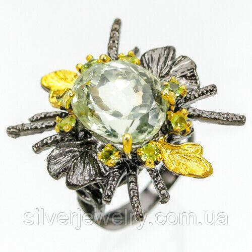 Серебряное кольцо с ПРАЗИОЛИТОМ (зеленый аметист), серебро 925 пр. Размер 17,25