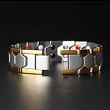 Магнітний браслет широкий з медичної сталі, фото 2