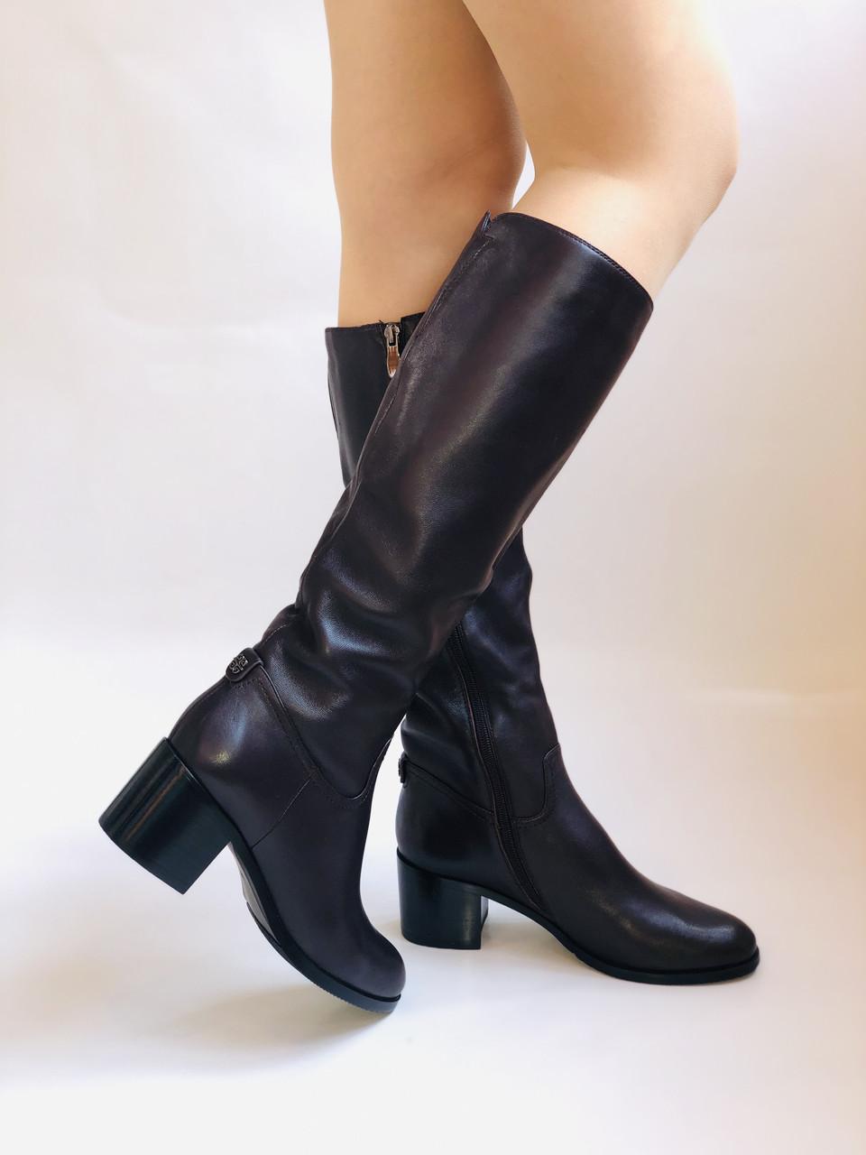 Женские осенне-весенние сапоги на среднем каблуке. Натуральная кожа. Люкс качество. Molka. Р. 37.38.40