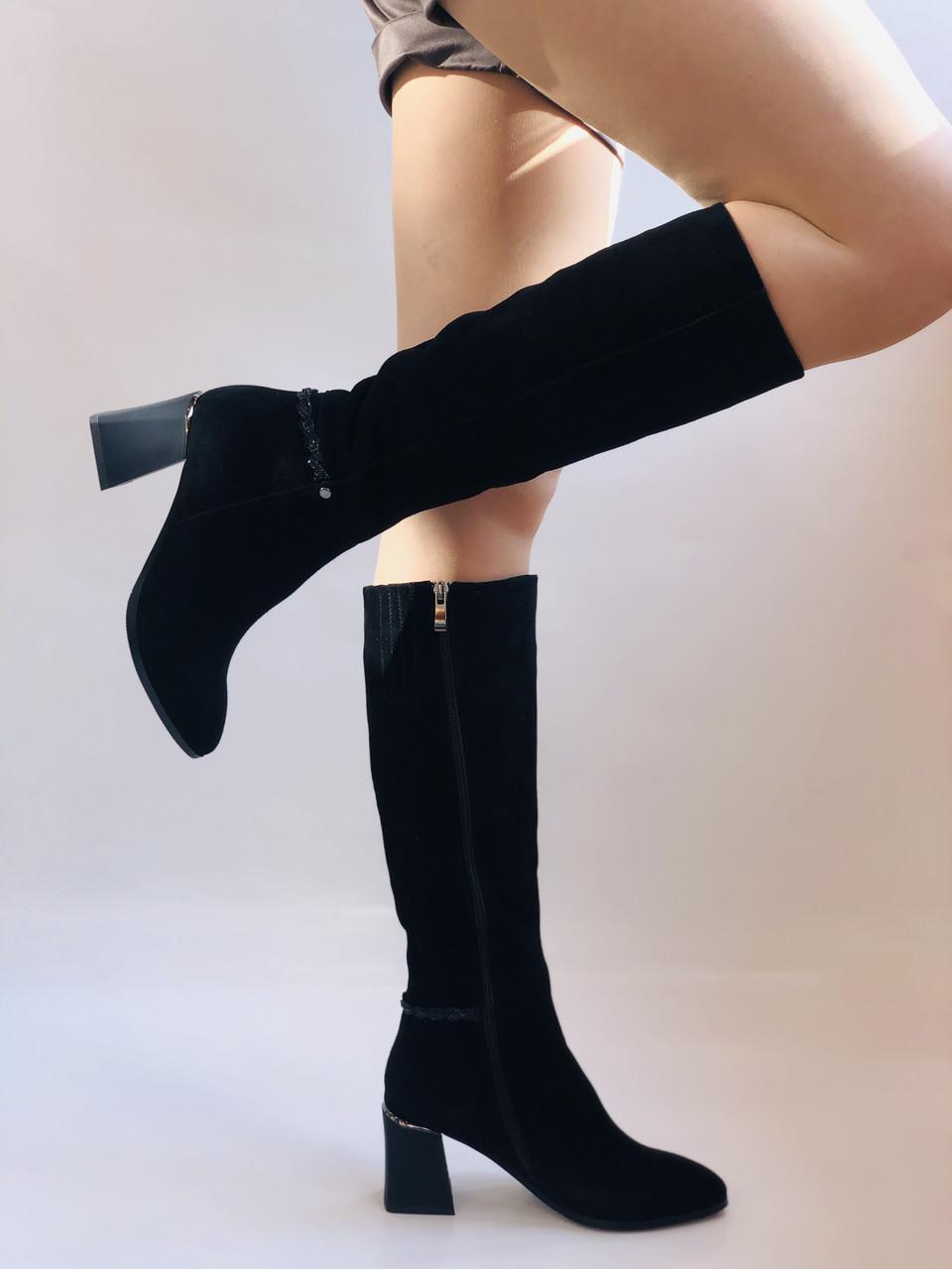 Жіночі осінньо-весняні чобітки на середньому каблуці. Натуральна замша. Nadi Bella. Р. 35, 36, 37, 38, 40