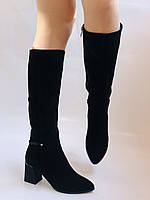 Женские осенне-весенние сапоги на среднем каблуке. Натуральная замша. Nadi Bella. Р. 35, 36, 37, 38, 40, фото 4