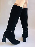 Женские осенне-весенние сапоги на среднем каблуке. Натуральная замша. Nadi Bella. Р. 35, 36, 37, 38, 40, фото 6