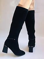 Жіночі осінньо-весняні чобітки на середньому каблуці. Натуральна замша. Nadi Bella. Р. 35, 36, 37, 38, 40, фото 6