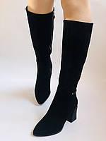Женские осенне-весенние сапоги на среднем каблуке. Натуральная замша. Nadi Bella. Р. 35, 36, 37, 38, 40, фото 3