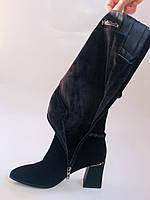 Женские осенне-весенние сапоги на среднем каблуке. Натуральная замша. Nadi Bella. Р. 35, 36, 37, 38, 40, фото 10