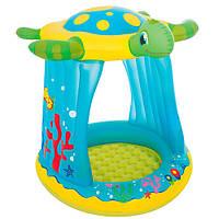 Надувной детский бассейн с надувным дном, крышей 94*96*109 26л