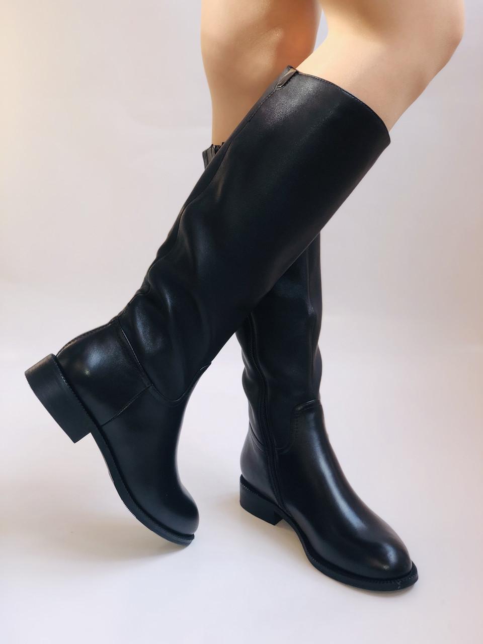 Женские осенне-весенние сапоги на среднем каблуке. Натуральная кожа.Высокое качество. Р. 35.38.39.Molka