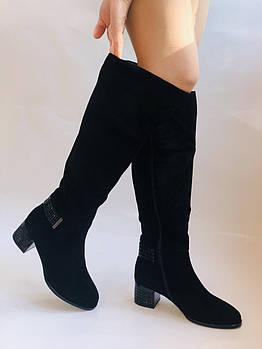 Натуральный мех. Широкая нога. Зимние сапоги на среднем каблуке. Натуральный замш. Stalo Totti. Р36,37,38