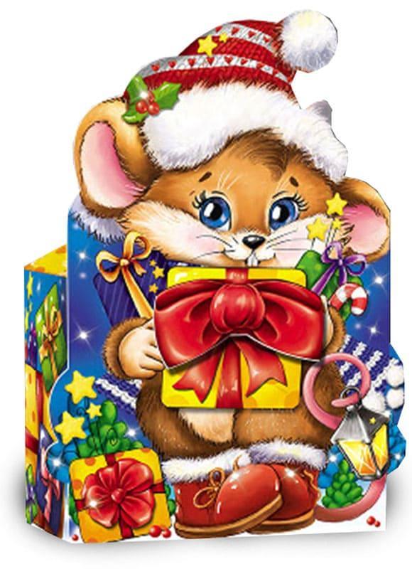 Картонная упаковка новогодняя Мышонок с подарками мелким оптом на вес до 500г