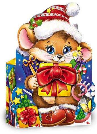 Картонная упаковка новогодняя Мышонок с подарками мелким оптом на вес до 500г, фото 2