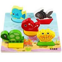 Деревянная развивающая игрушка Рамка-вкладыш (для малышей) Морские животные