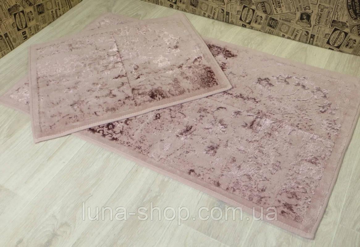 Комплект ковриков для ванной розовый  Lavanta 013, Турция, 60х50 и 60х100, хлопок